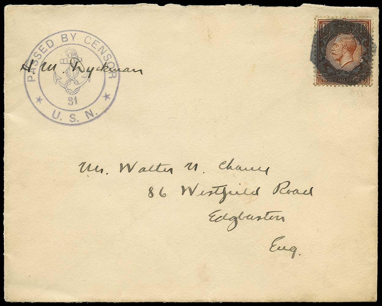 GB c.1918  SG362 Cover censored by U.S. Navy