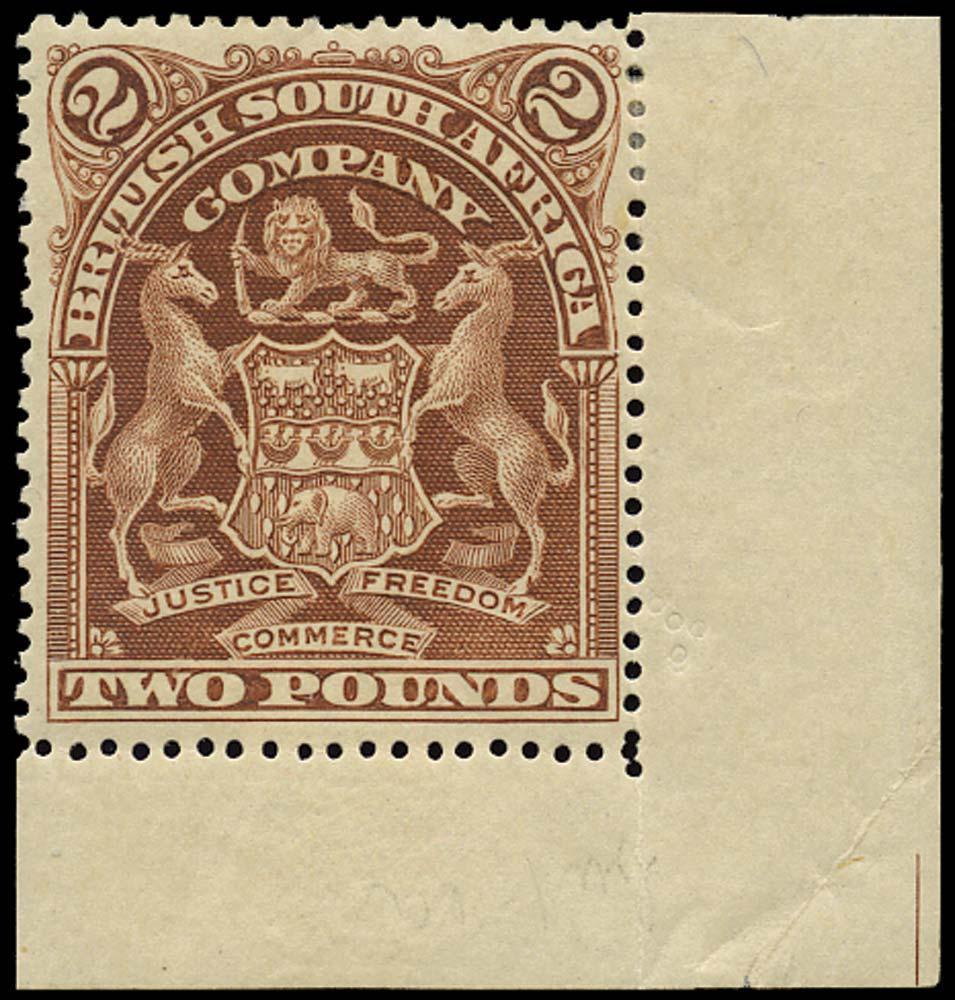 RHODESIA 1898  SG91 Mint Arms £2 brown