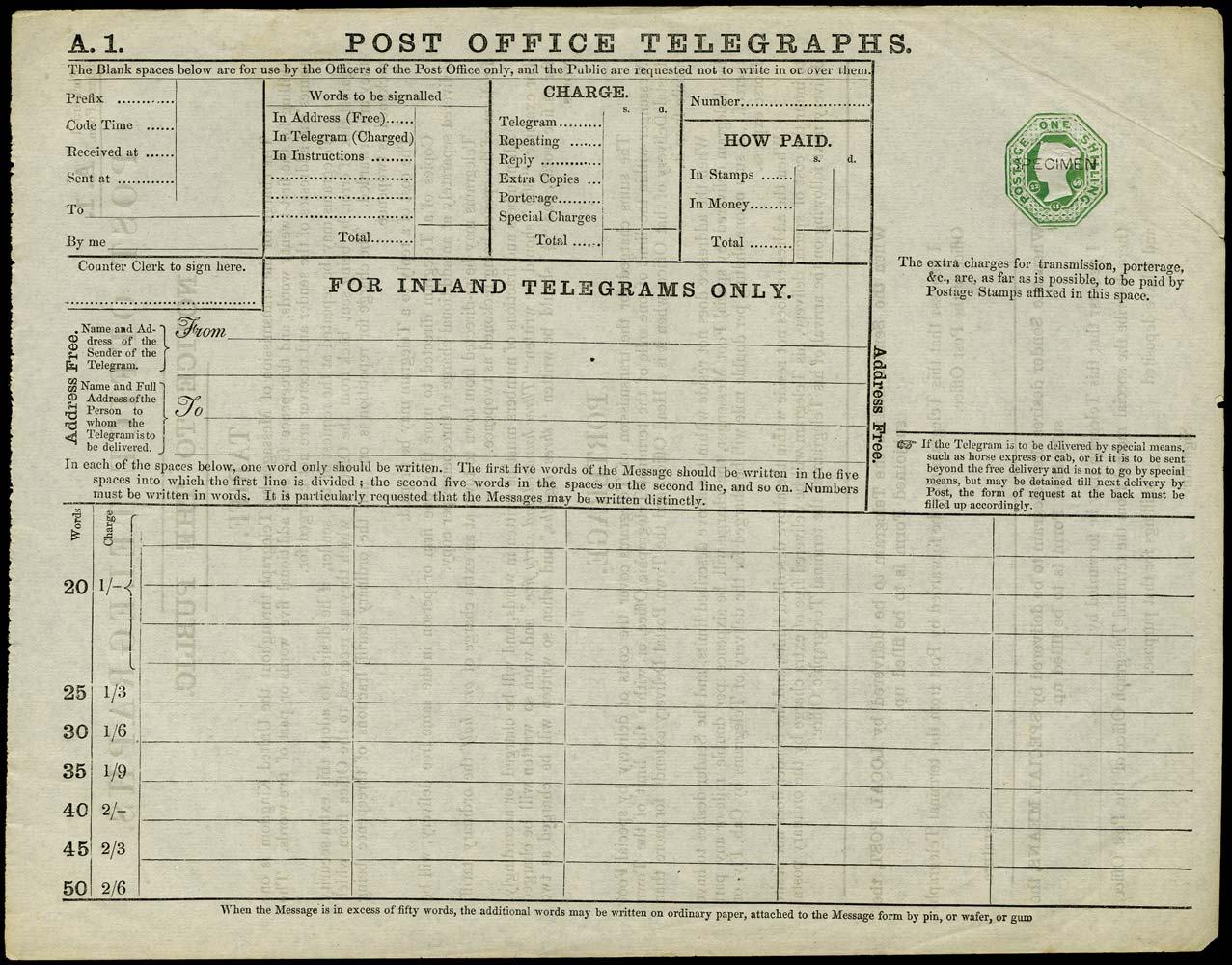 GB 1870 Telegraph Form