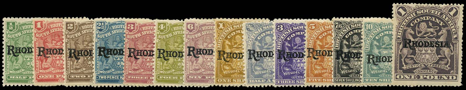 RHODESIA 1909  SG100/13 Mint RHODESIA overprint set of 14 to £1