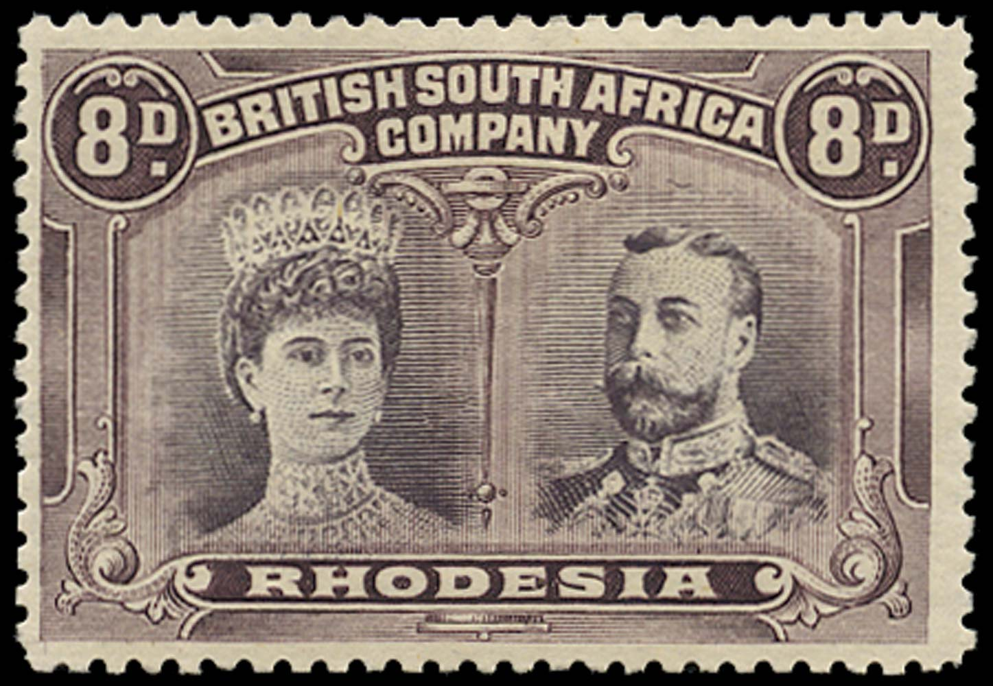 RHODESIA 1910  SG147 Mint Double Heads 8d dull purple and purple
