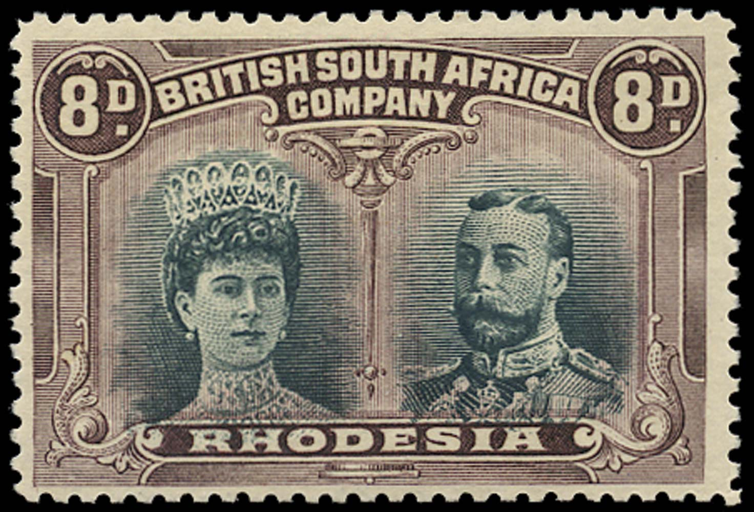 RHODESIA 1910  SG147 Mint Double Heads 8d greenish black and purple