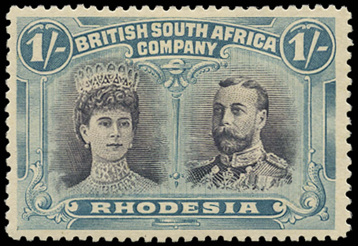 RHODESIA 1910  SG151 Mint Double Heads 1s grey-black and deep blue-green