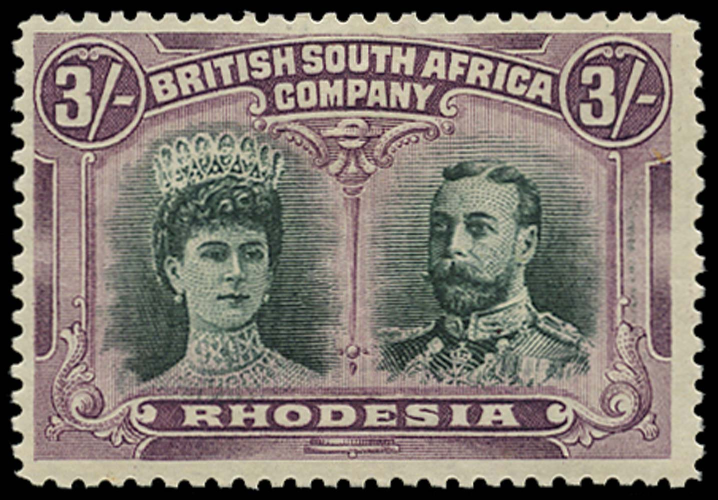 RHODESIA 1910  SG158 Mint Double Heads 3s green and violet
