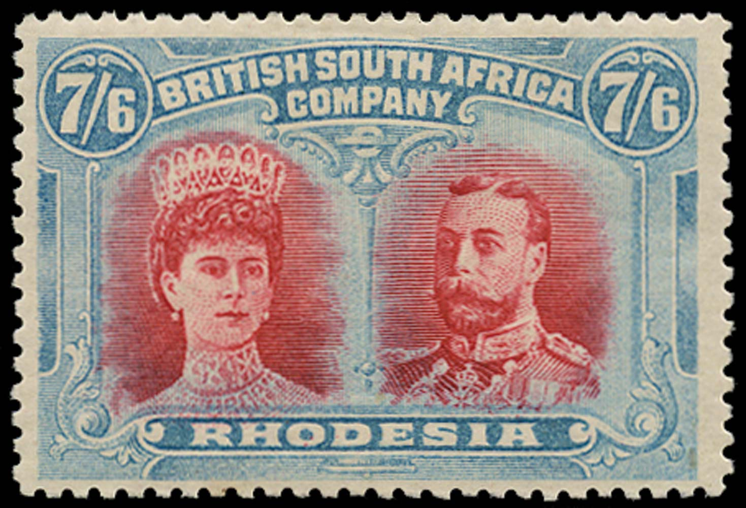 RHODESIA 1910  SG160b Mint Double Heads 7s6d carmine and pale blue