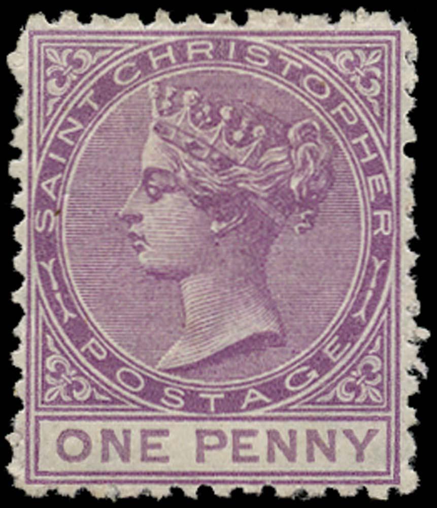 ST CHRISTOPHER 1870  SG2 Mint 1d magenta watermark CC