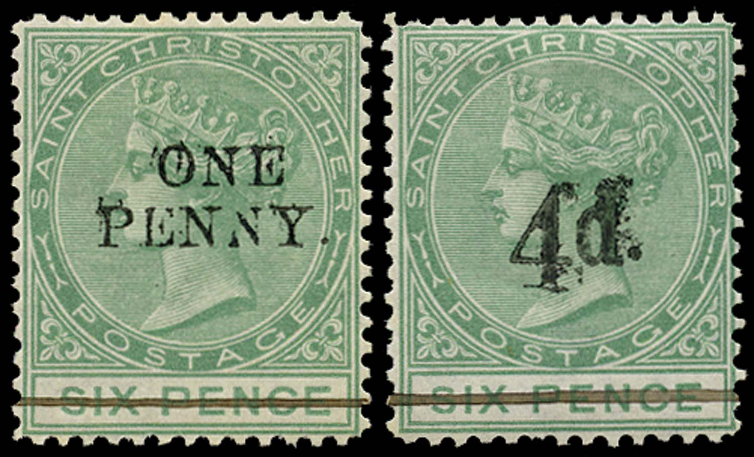 ST CHRISTOPHER 1886  SG24/25 Mint 1d on 6d green, 4d on 6d green