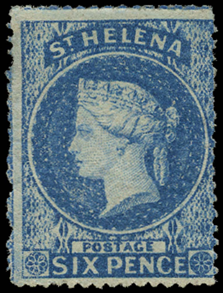ST HELENA 1861  SG2a Mint 6d blue watermark large star rough perf
