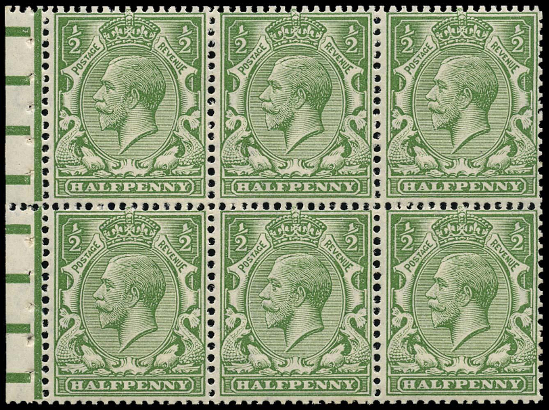 GB 1913  SG351c Booklet pane