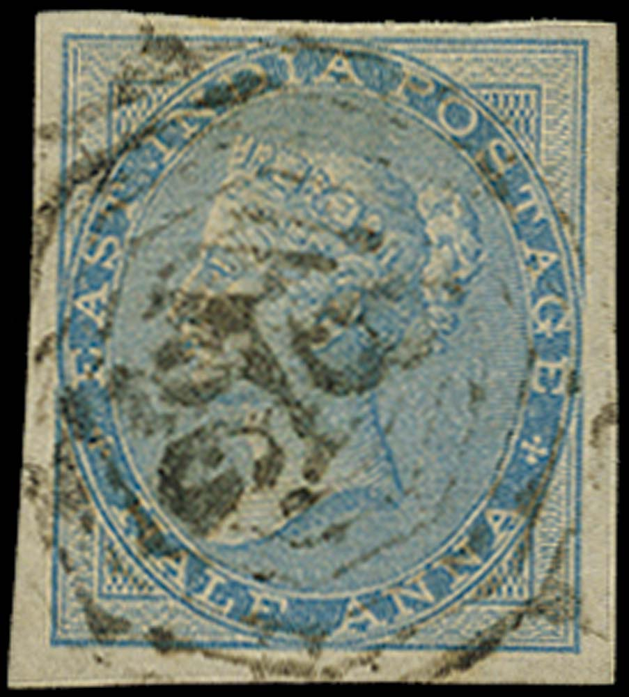 INDIA 1856  SG37a Used ½a blue no watermark IMPERFORATE