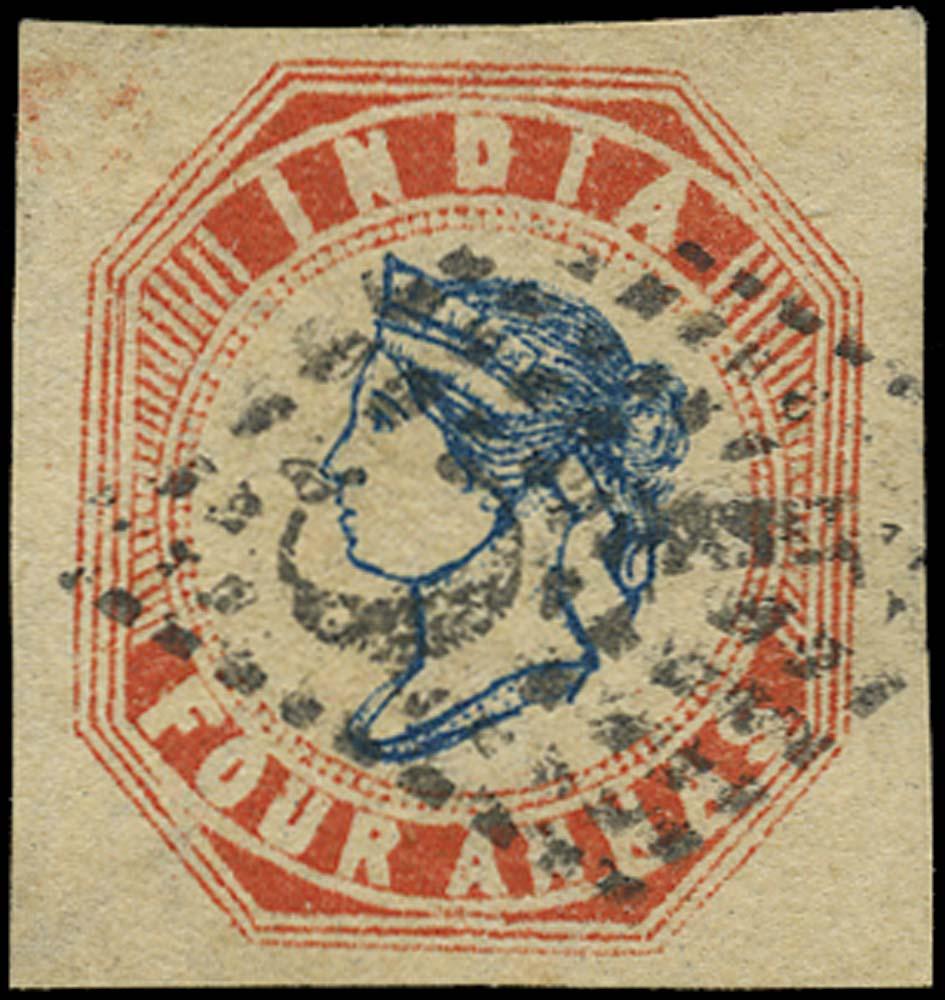 INDIA 1854  SG26var Used 4a deep blue and red, head die III, frame die II