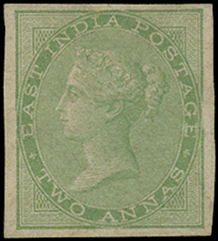 INDIA 1856  SG50a Mint 2a yellow-green no watermark IMPERFORATE