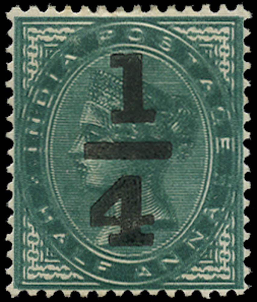 INDIA 1898  SG110b Mint ¼a on ½a double impression