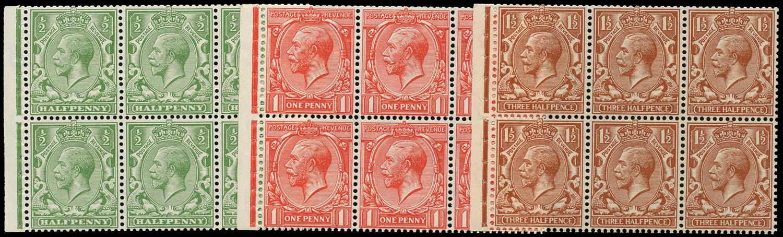 GB 1924  SG418d,419e,420e Booklet pane
