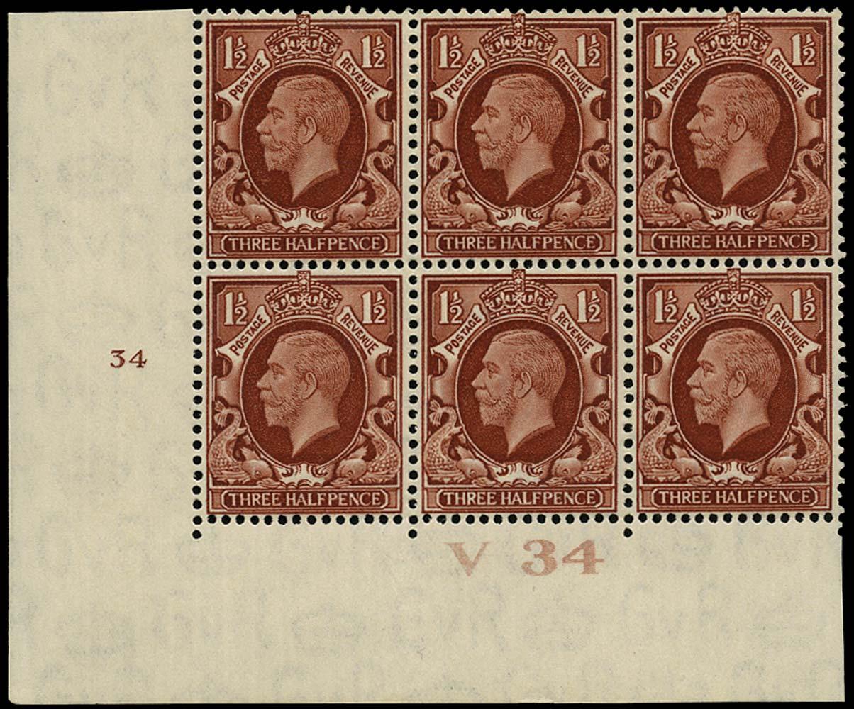 GB 1934  SG441 Mint Control V34, Cyl. 34 (No dot)
