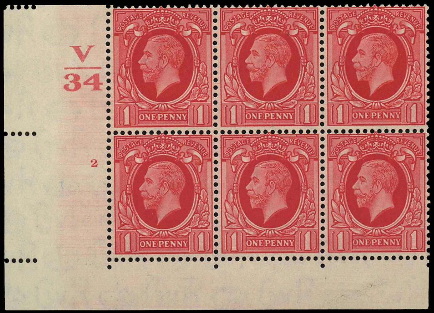 GB 1934  SG440 Mint V/34 Control, Cylinder 2 no dot