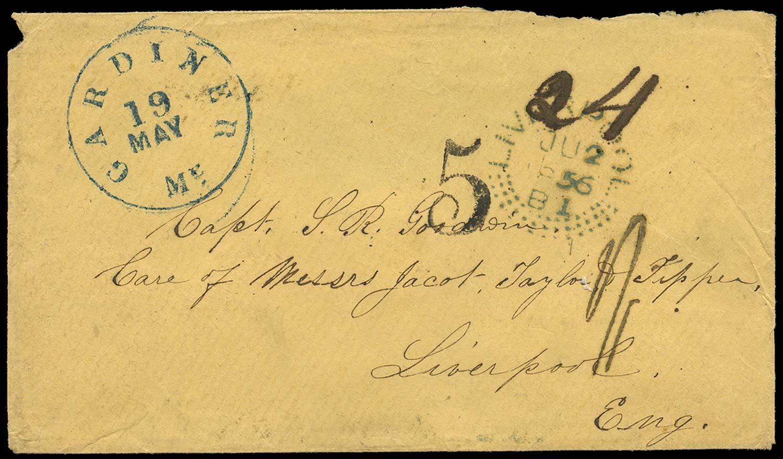 GB 1856 Cover Transatlantic Incoming Mail - Experimental