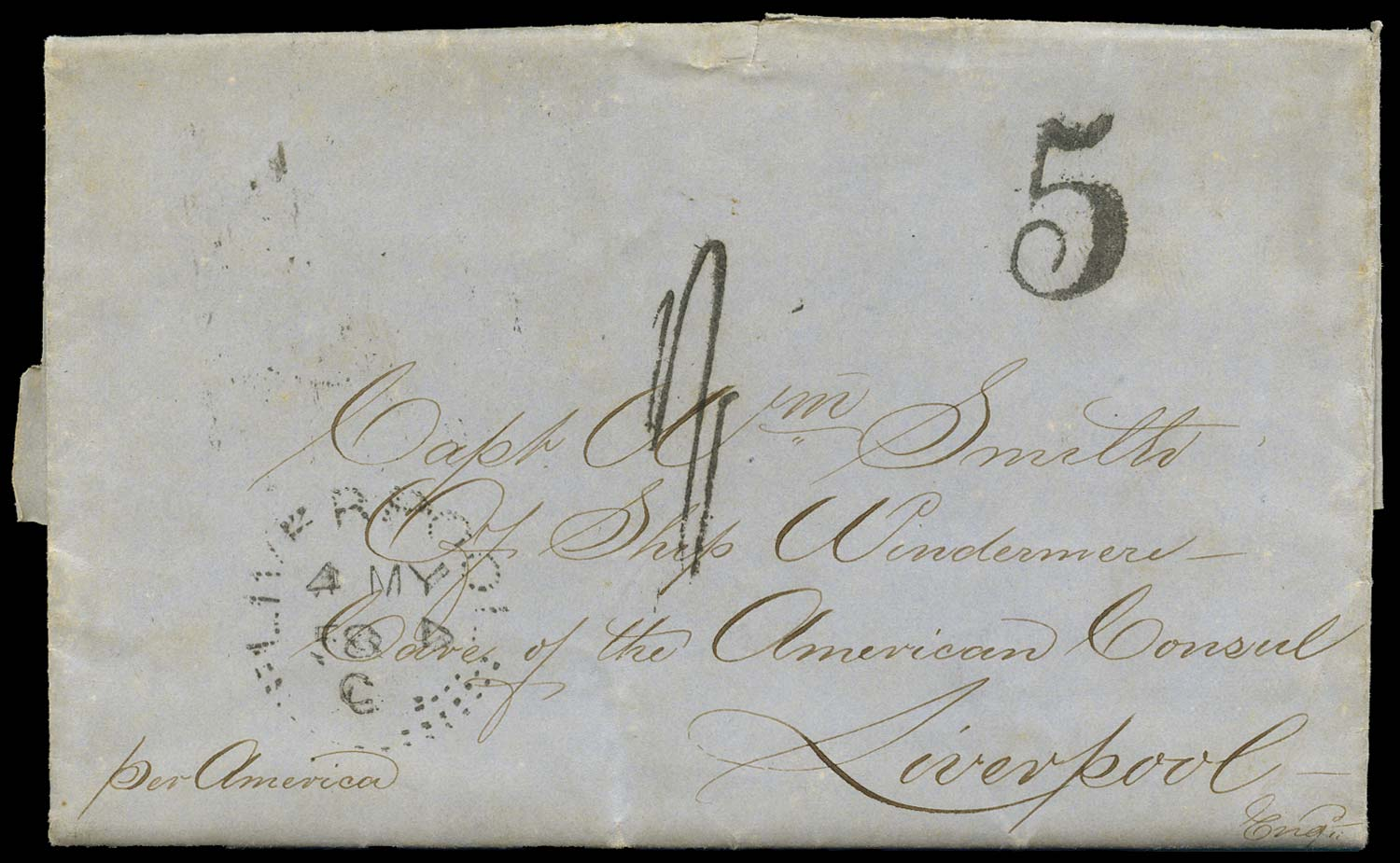 GB 1858 Cover Transatlantic Incoming Mail - Experimental
