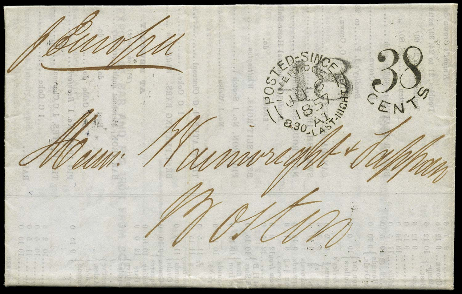 GB 1857 Cover - Unpaid double rate