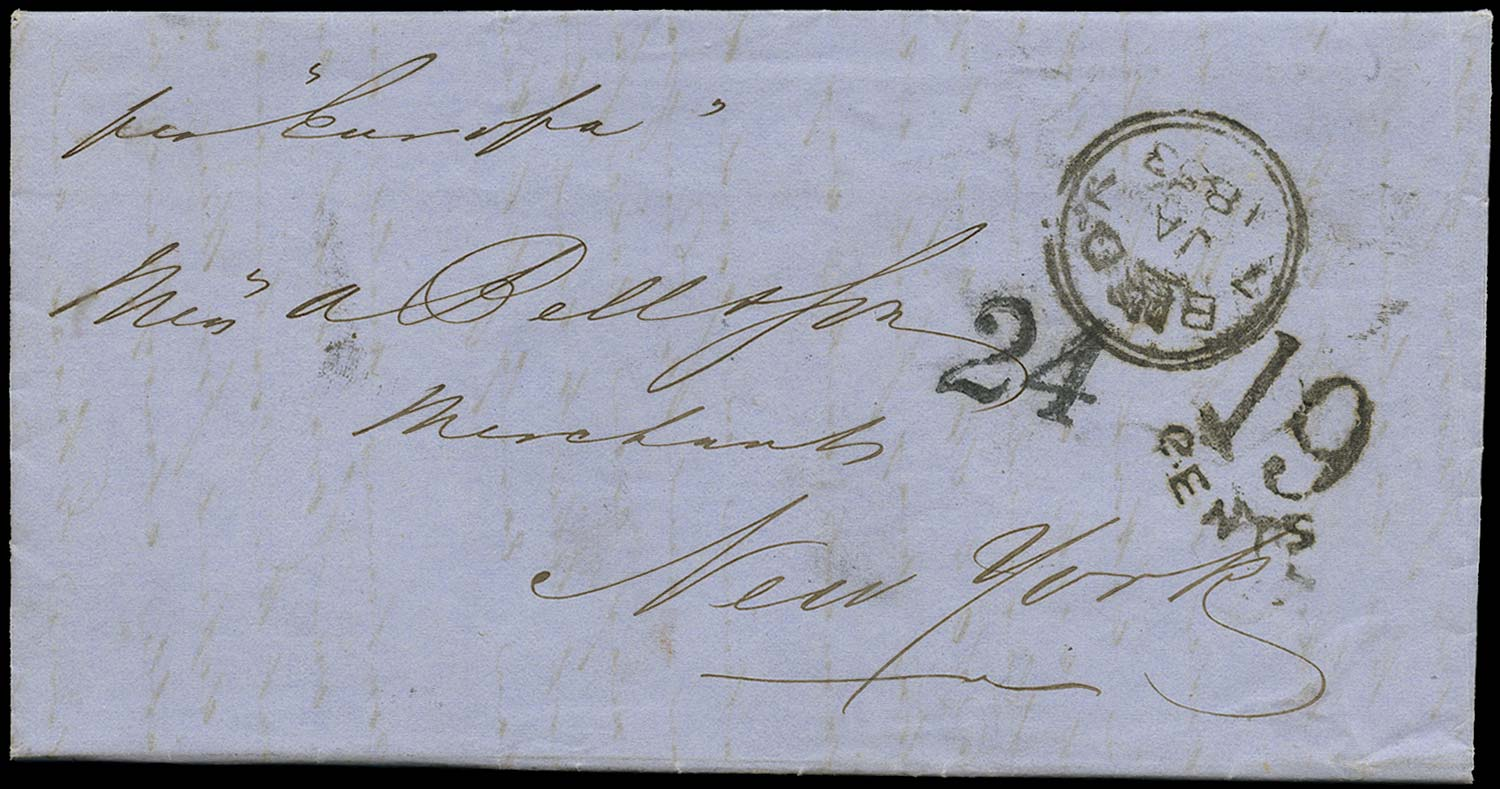 GB 1853 Cover - Unpaid single rate cover to New York