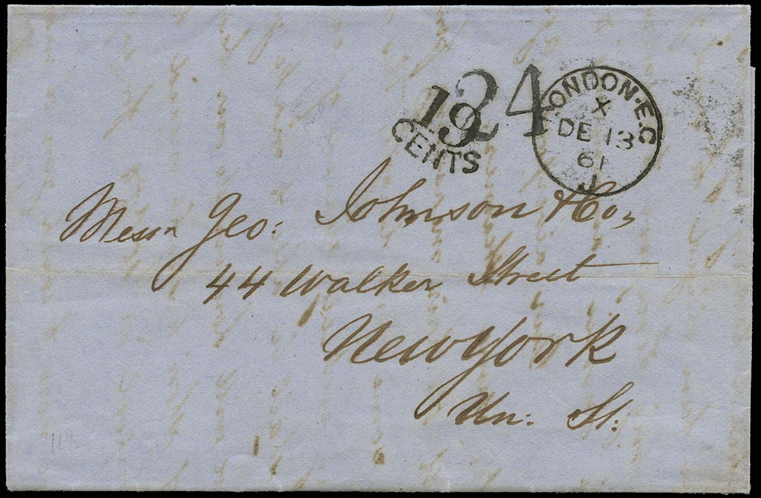 GB 1861 Cover - Unpaid single rate cover to New York