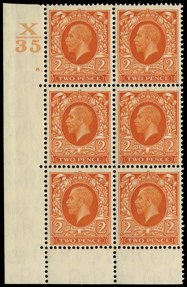 GB 1935  SG442 Mint Control X35, Cyl 8. (dot)