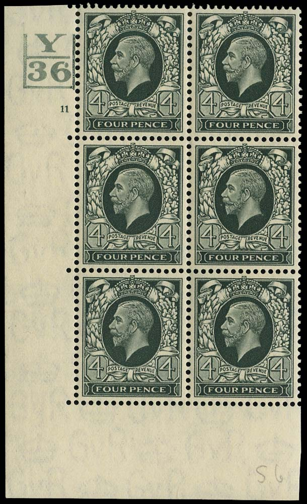 GB 1936  SG445 Mint Y/36 Control + 3 bars, Cylinder 11 no dot