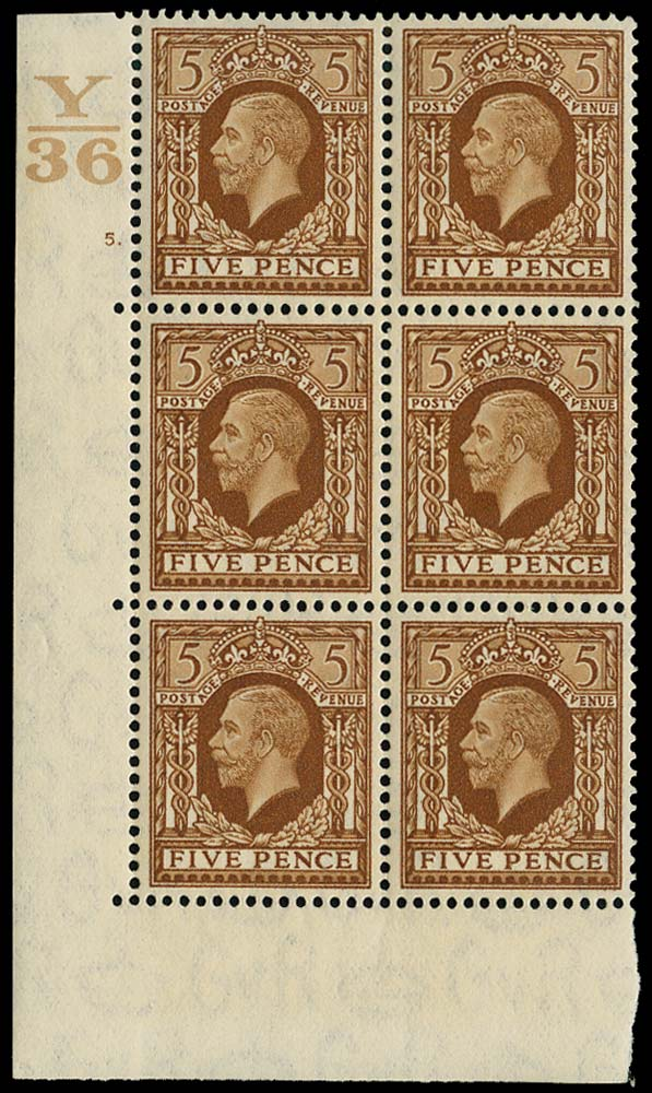 GB 1936  SG446 Mint Y/36 Control, Cylinder 5 dot