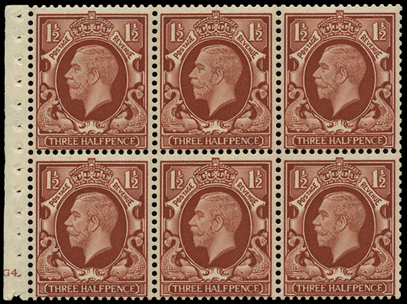 GB 1935  SG441f var Booklet pane (intermediate format) Cyl.G4.
