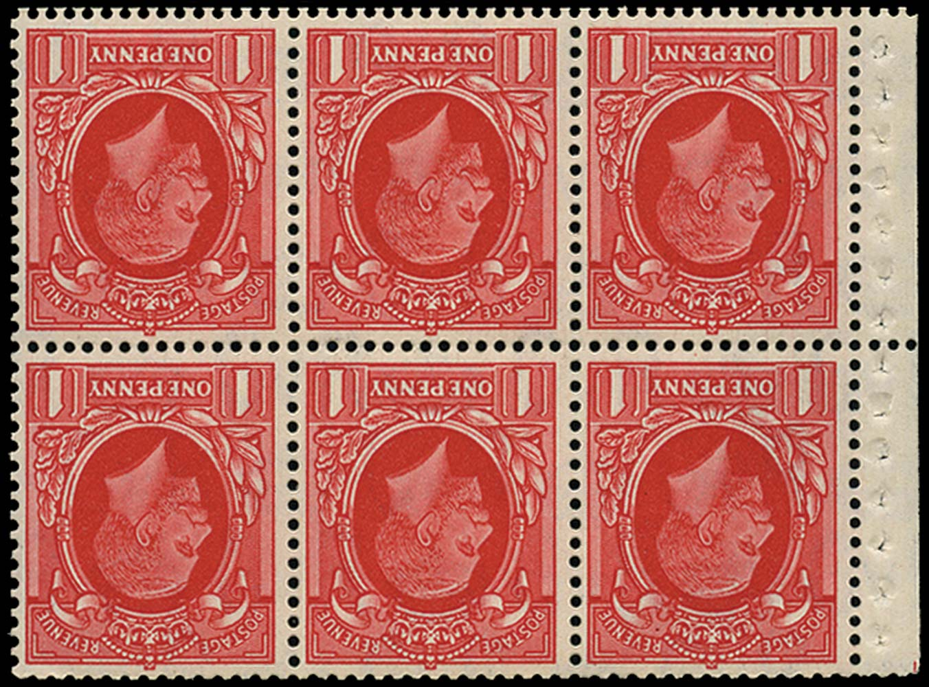 GB 1935  SG440gw Booklet pane (Small format) Wmk. Inverted