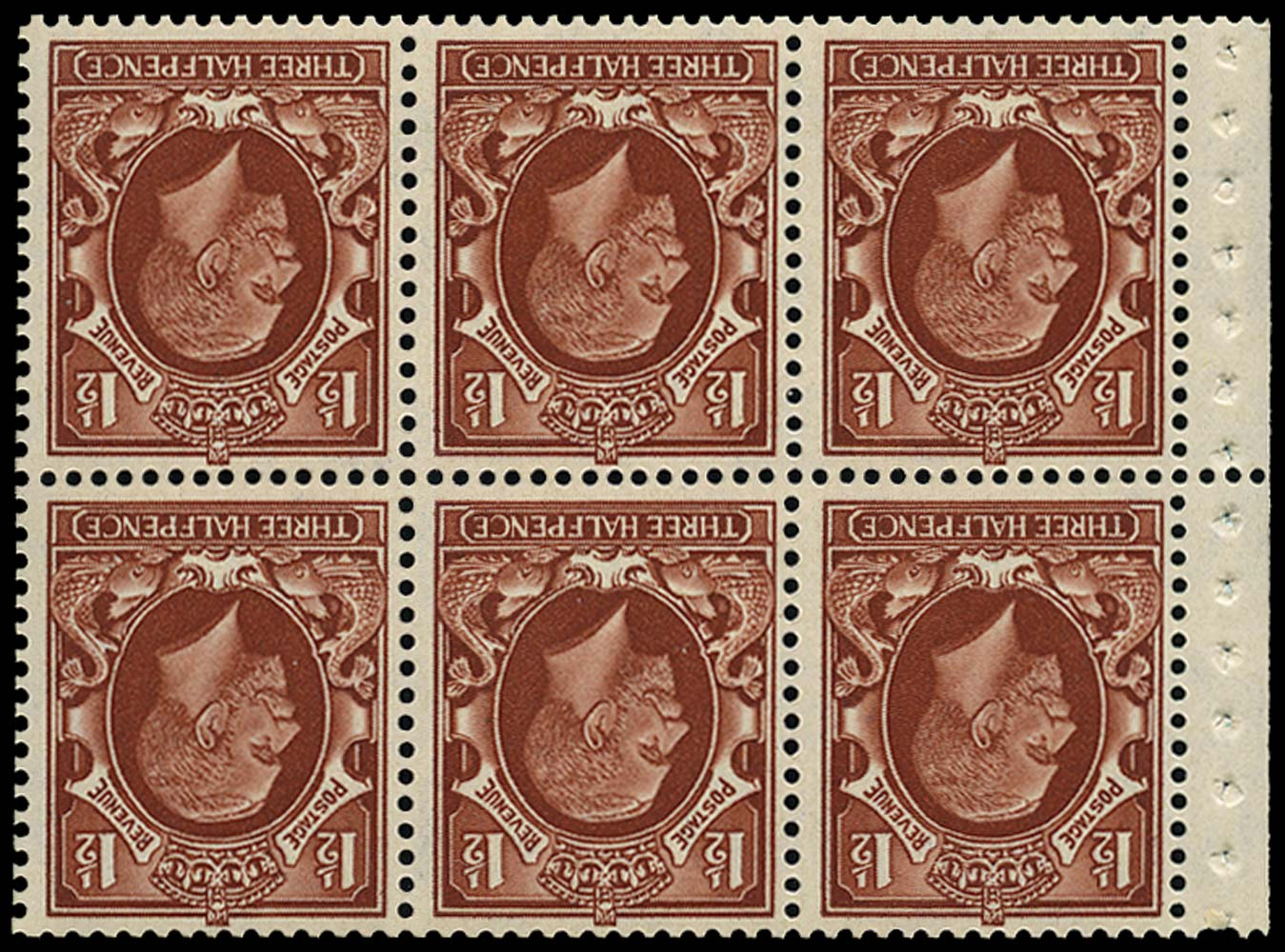 GB 1935  SG441fw Booklet pane (small format) Wmk. Inverted.