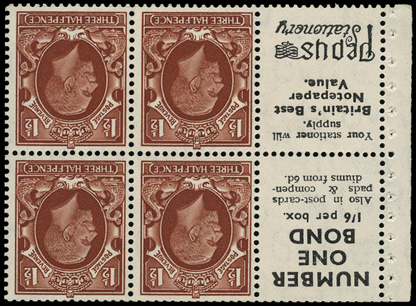 GB 1935  SG441ew Booklet pane (small format)
