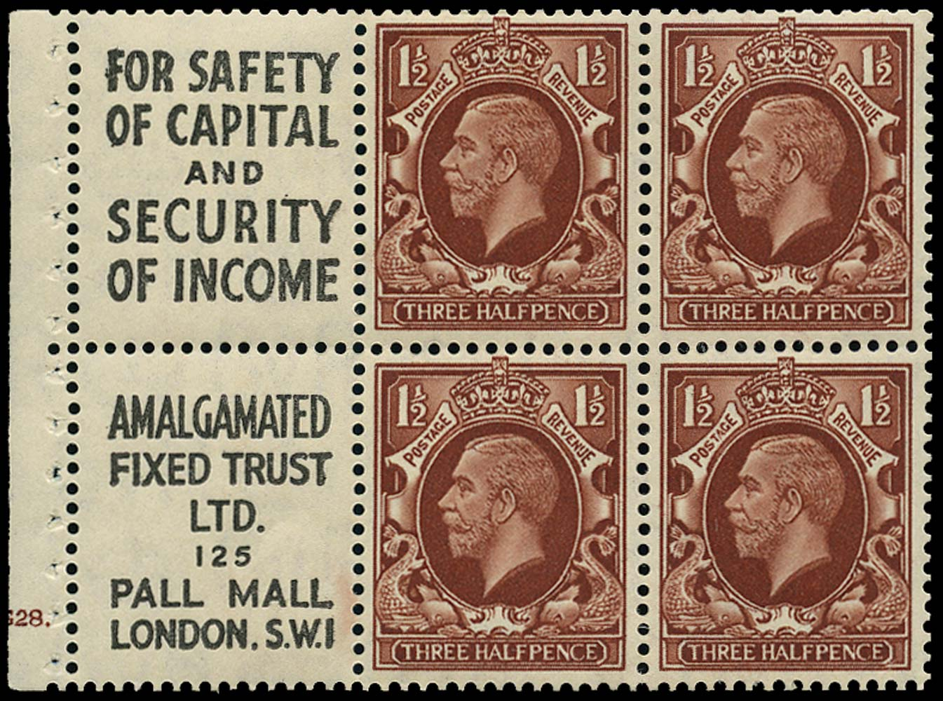 GB 1935  SG441e Booklet pane (small format)