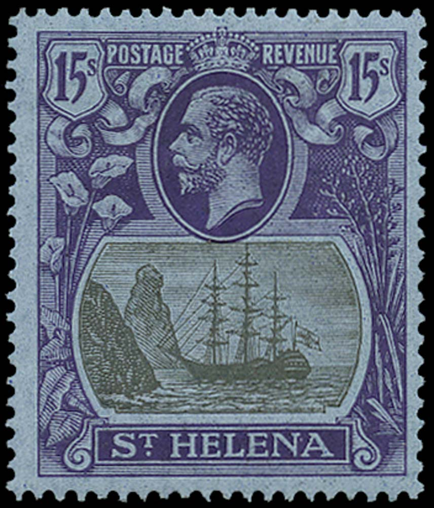 ST HELENA 1922  SG113 Mint 15s grey and purple on blue paper