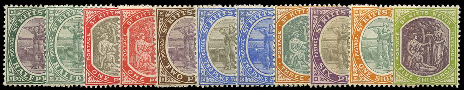 ST KITTS NEVIS 1905  SG11/21 Mint watermark MCA set of 11 to 5s
