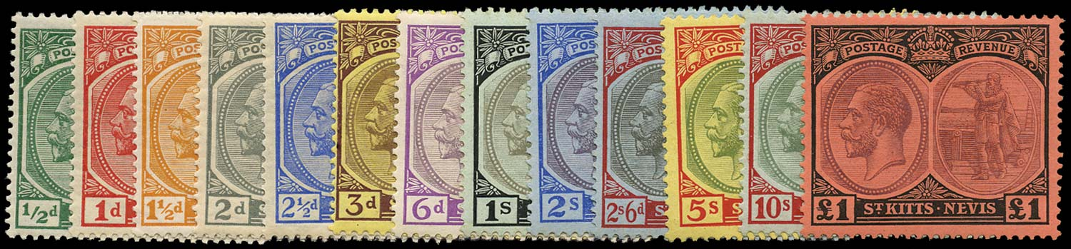 ST KITTS NEVIS 1920  SG24/36 Mint watermark MCA set of 13 to £1