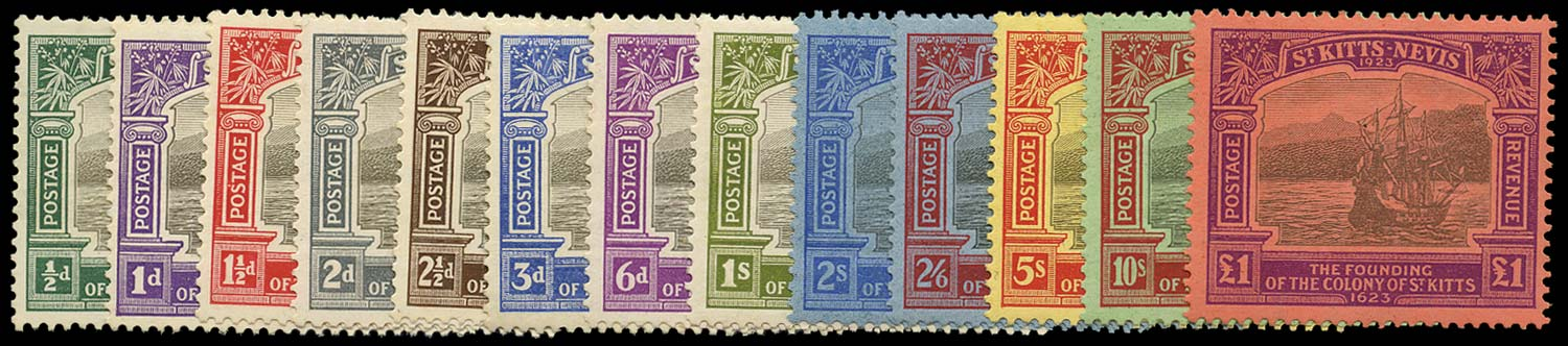 ST KITTS NEVIS 1923  SG48/60 Mint Tercentenary set of 13 to £1
