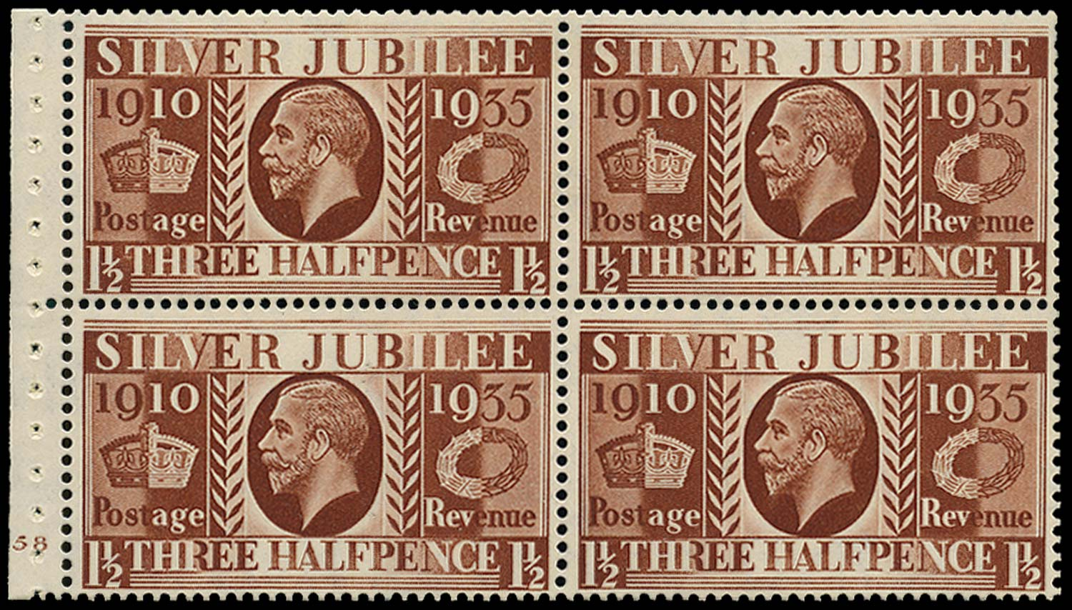 GB 1935  SG455a Booklet pane - Cyl.58