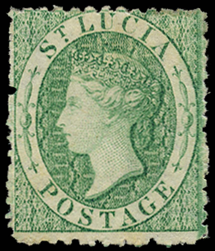ST LUCIA 1863  SG8x Mint (6d) emerald-green watermark CC reversed