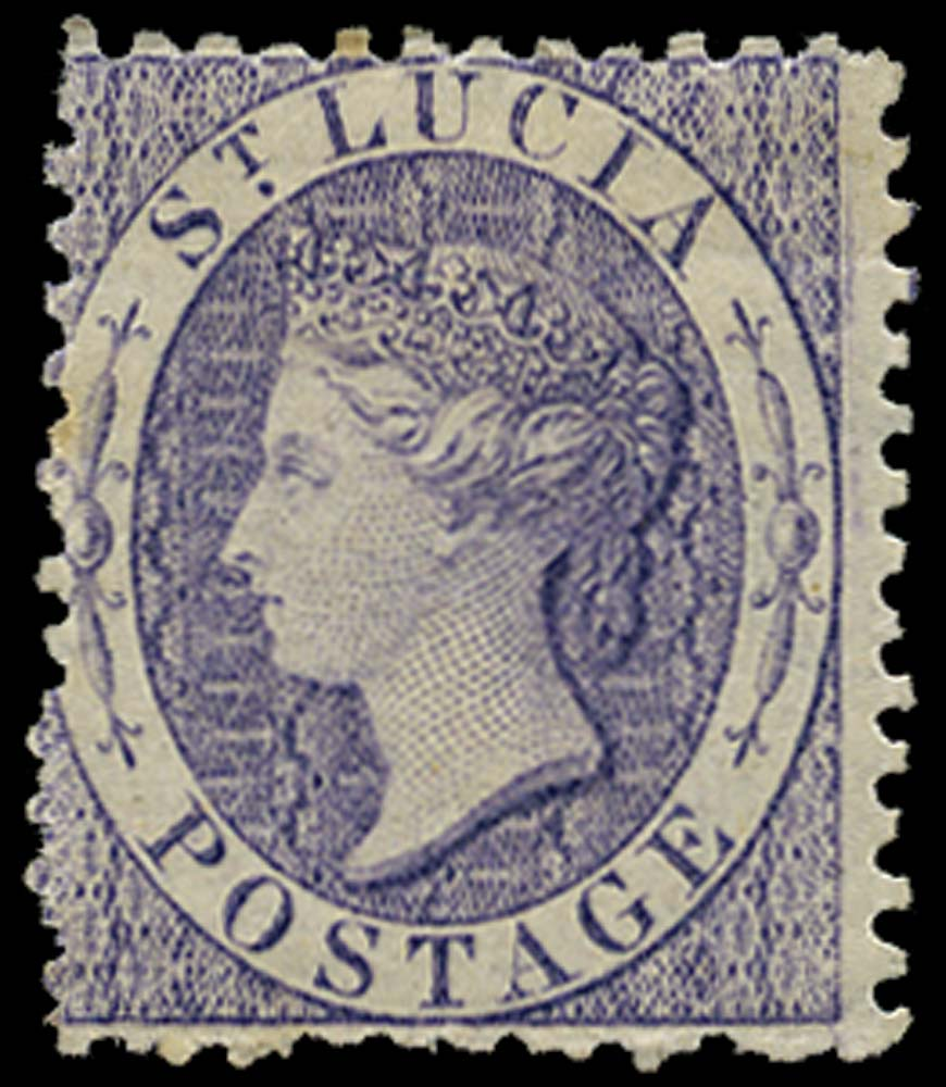 ST LUCIA 1864  SG13 Mint (6d) violet watermark CC perf 12½