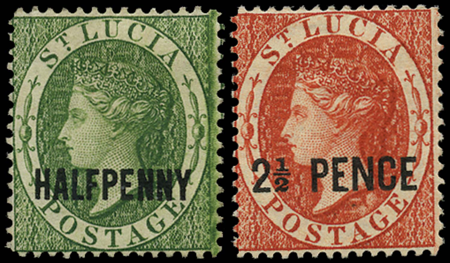 ST LUCIA 1881  SG23, 24 Mint HALFPENNY green, 2½ PENCE brown-red