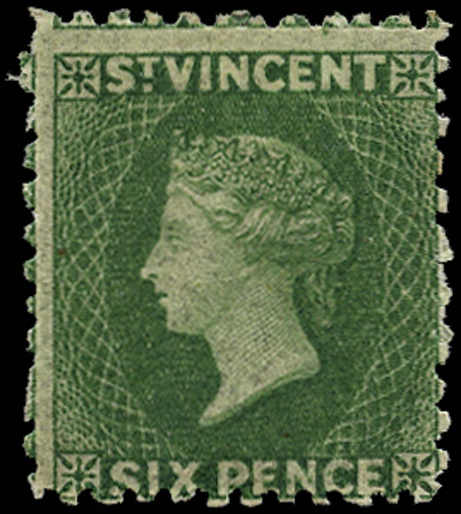 ST VINCENT 1862  SG7 Mint 6d deep green no watermark perf 11 to 12½