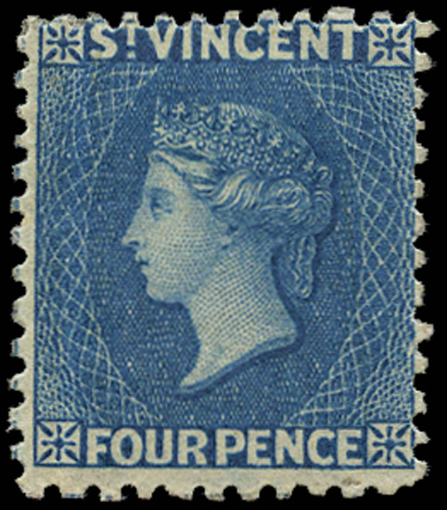 ST VINCENT 1862  SG6 Mint 4d deep blue no watermark perf 11 to 12½