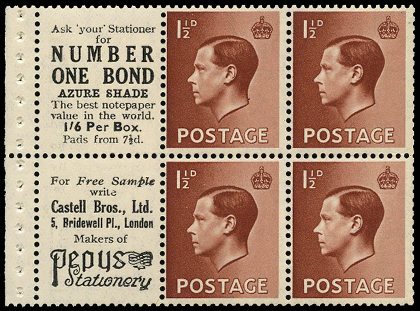 GB 1936  SG459a Booklet pane U/M advert pane