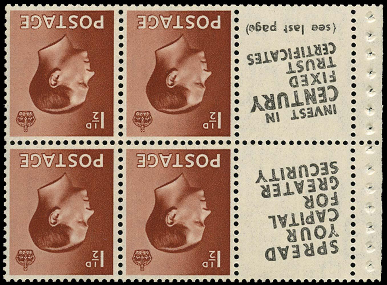 GB 1936  SG459aw Booklet pane U/M advert pane