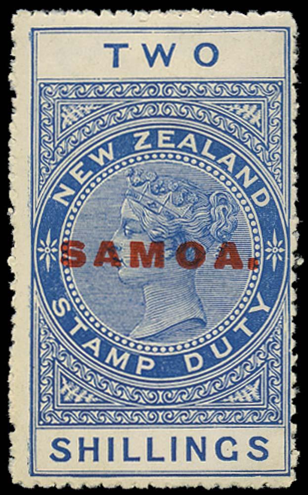 SAMOA 1914  SG122 Mint 2s blue perf 14 DLR paper