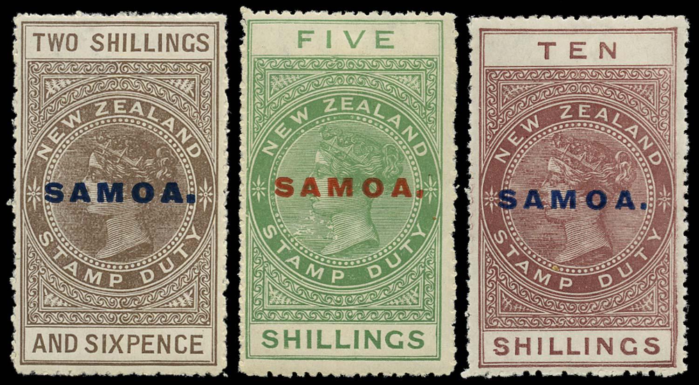 SAMOA 1914  SG123/25 Mint 2s6d, 5s, 10s perf 14 DLR paper