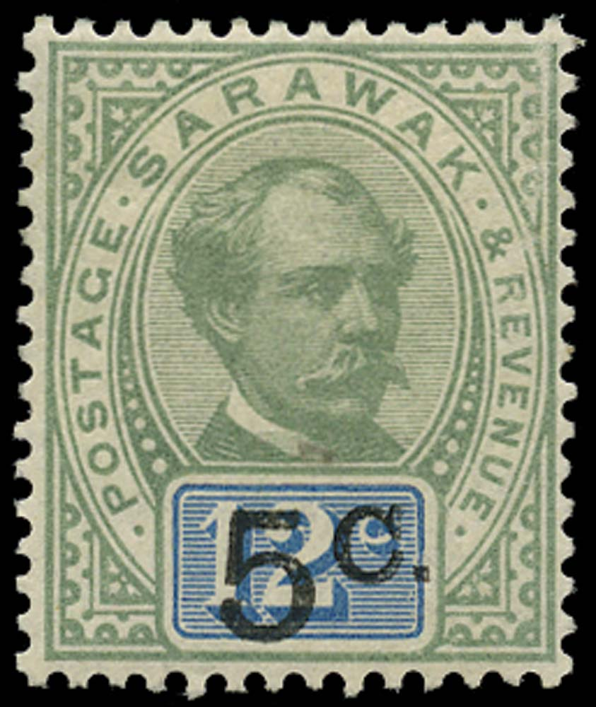 SARAWAK 1889  SG26 Mint 5c on 12c green and blue type 9 surcharge