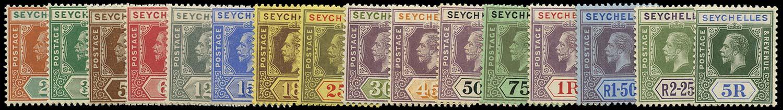 SEYCHELLES 1917  SG82/97 Mint watermark MCA set of 16 to 5r