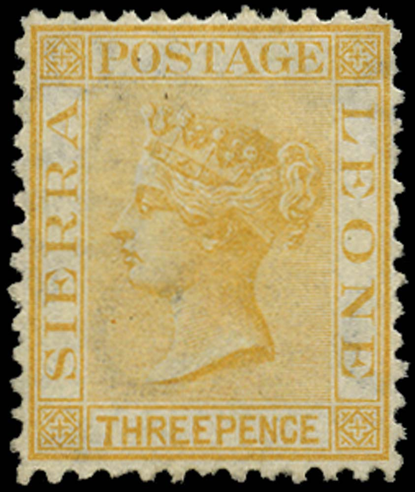 SIERRA LEONE 1872  SG13 Mint 3d saffron-yellow watermark CC upright